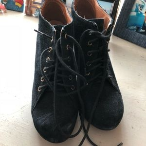 Jeffrey Campbell Lace Up Black Booties